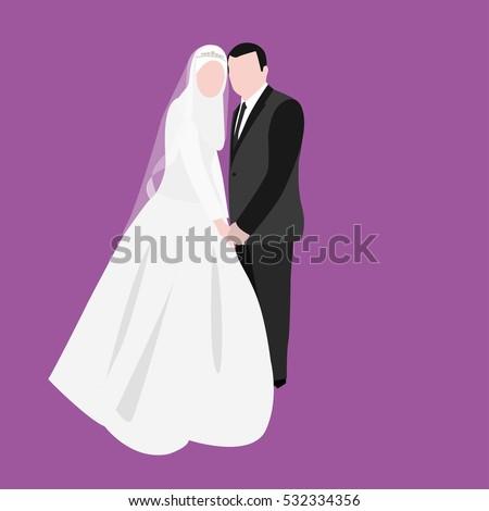 Vector Images Illustrations And Cliparts Muslim Wedding Vector Cartoon Bride And Groom Hqvectors Com