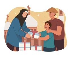 Muslim woman giving food to poor people. Ramadan kareem flat cartoon character illustration