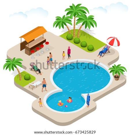 Muslim woman in swimsuit. Isometric Burqini or islamic swim wear. Summer fun at pool. Child with parents on water slide at aqua park. Summer-holiday. Flat 3d vector isometric illustration.