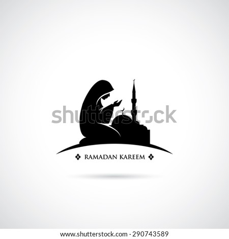 Muslim woman praying symbol - vector illustration