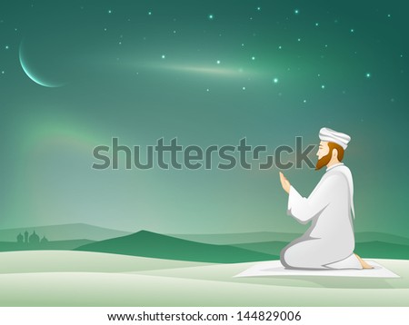 Muslim young mans in traditional dress praying Namaz Islamic Prayer in shiny moonlight night background