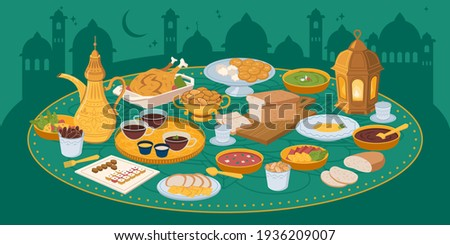 Muslims evening meal iftar, food and drinks on background of city mosques, arabian buildings. Vector Eid mubarak, Ramazan Kareem meal, bread, fruits vegetables, holy lamp. Ftoor muslims evening meal