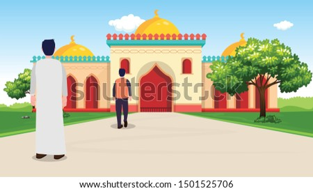 Muslims go to pray in the mosque - Arab Street - vector