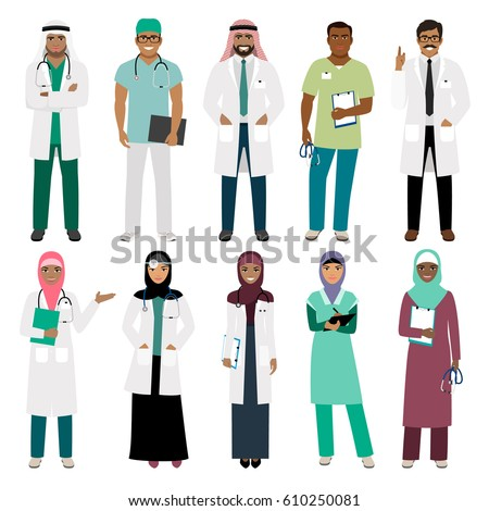 Muslims healthcare staff. Standing arab muslim physician doctor and arabian nurse vector isolated on white background
