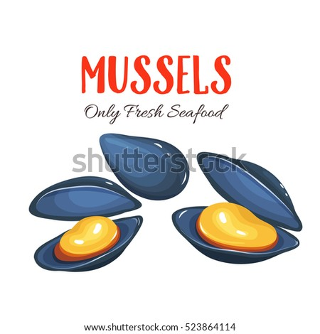 Mussels vector illustration in cartoon style. Seafood product design. Сток-фото ©