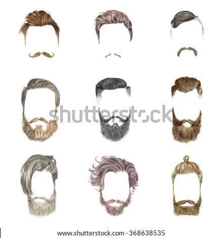 Mustache and beard Set on white background. Hipster style of men's hairstyle. Fashion vector illustration.