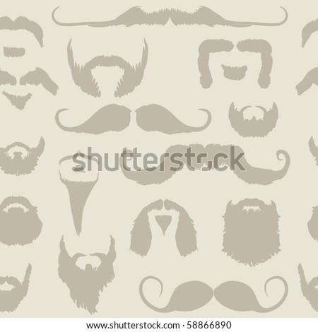 Mustache and beard set seamless pattern