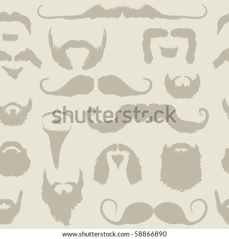 Mustache and beard set seamless pattern for No Shave November - Movember