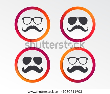 Mustache and Glasses icons. Hipster symbols. Facial hair signs. Infographic design buttons. Circle templates. Vector
