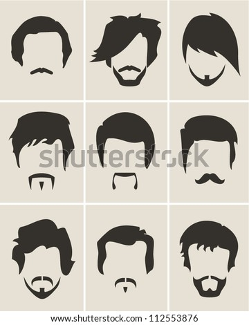 Mustache beard and hair style set