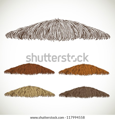 Mustache groomed in several colors set 1. easily editable detailed graphic design