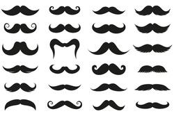Mustache Icon Set. Set of Silhouette Mustache vector icon Illustration