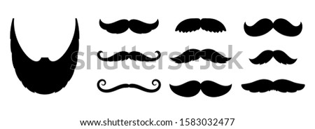 Mustache icons. fashion dandy hipster beard, barber shop signs. Black old style curly mustaches for men vector set