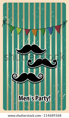 mustache party card. vector illustration