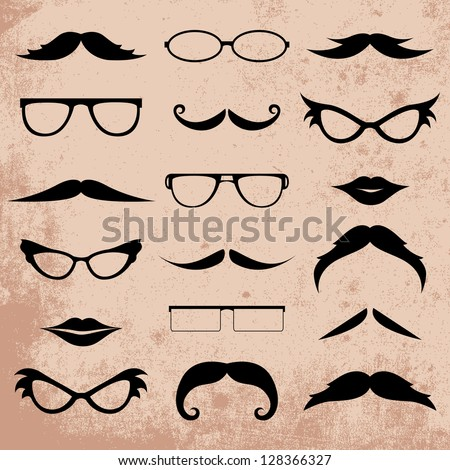 Mustaches And Eyeglasses Various Addition Set - Isolated On Background - Vector Illustration, Graphic Design Editable For Your Design. Logo Symbols