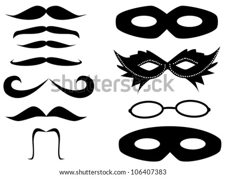 Mustaches and masks set vector