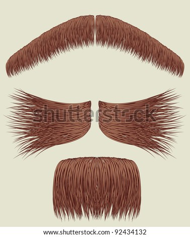 Mustaches for man.Vector collection on white for design - stock vector