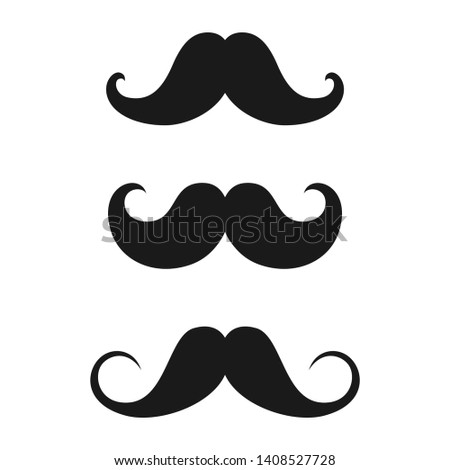 Mustaches hipsters. Mustaches in retro style set icons isolated on white background. Vector illustration