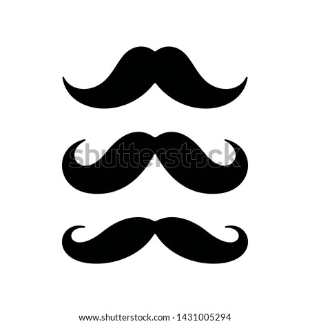 Mustaches on white background. Mustache flat icons.