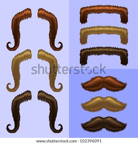 mustaches-part 1 - stock vector