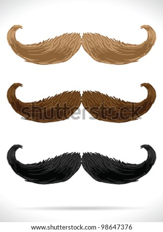 Mustaches set (3 color)5 - vector illustration Shadow and background are on separate layers. Easy editing.