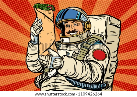 Mustachioed astronaut with Shawarma kebab Doner. Pop art retro vector illustration kitsch vintage drawing
