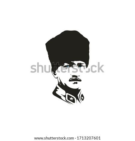 Mustafa Kemal Ataturk portrait drawing, vector