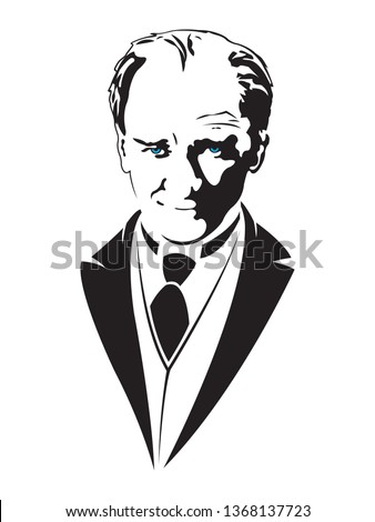 Mustafa Kemal Ataturk Portrait Isolated Drawing