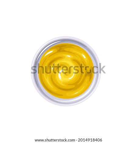 Mustard sauce in bowl. Colored illustration of mustard top view. Foto stock ©
