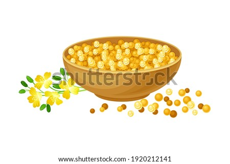 Mustard Seeds Piled in Bowl with Plant Specie Rested Nearby Vector Illustration Foto stock ©