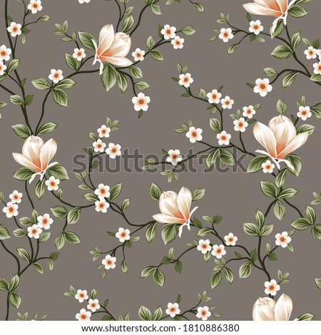 mustered vector small flowers with green leaves pattern on grey background Stock foto ©