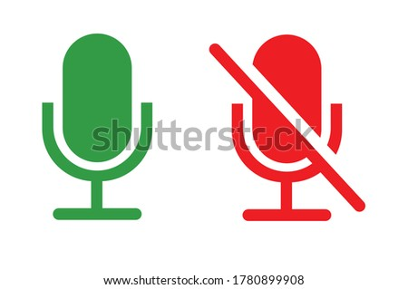 Mute and unmute audio microphone flat vector icons for video apps and websites. Can be used for Web, Mobile, Infographic and Print. EPS 10 Vector illustration.  Сток-фото ©