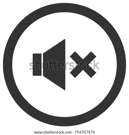 Mute icon in circle. Sound off, volume control button. Vector.
