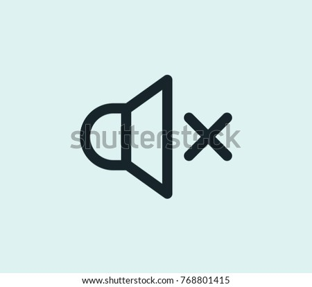 Mute icon line isolated on clean background. Sound concept drawing mute icon line in modern style. Vector illustration of mute icon for your web site mobile logo app UI design. Сток-фото ©