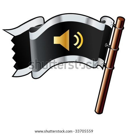 Mute or volume control media player icon on black, silver, and gold vector flag good for use on websites, in print, or on promotional materials