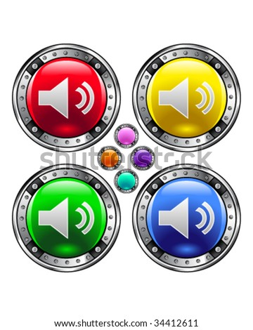 Mute or volume media player icon on round colorful vector buttons suitable for use on websites, in print materials or in advertisements.  Set includes red, yellow, green, and blue versions.