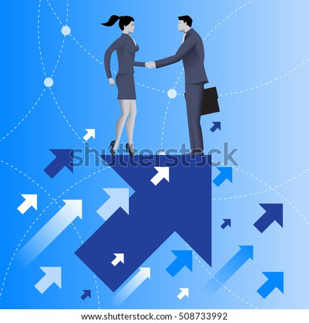 Mutual benefit business concept. Businessman and business woman shaking each other hands standing on top of arrow flying up. Concept of deal, benefit, common ground, contract, agreement.