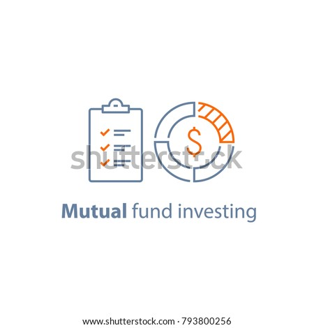Mutual fund management, long term investment, financial security, finance solution, market analysis, loan approval, accountancy service, vector line icon thin stroke