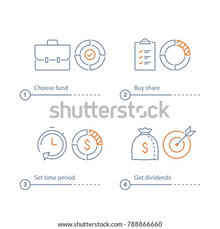 Mutual fund management, long term investment return, financial security, corporate finance, income growth, time is money, dividend payment, portfolio performance analysis, vector line icon thin stroke