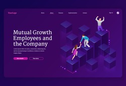 Mutual growth and assistance employees and company isometric landing page. Business team climbing up column chart, leader stand on top. Man pull teammate woman to peak, teamwork 3d vector web banner