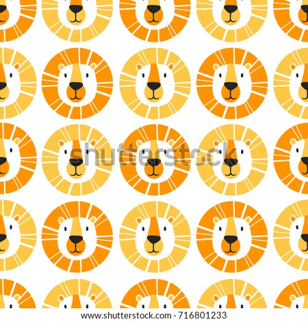 Muzzle of lions, hand drawn backdrop. Colorful seamless pattern with muzzles of animals. Decorative cute wallpaper, good for printing. Overlapping background vector
