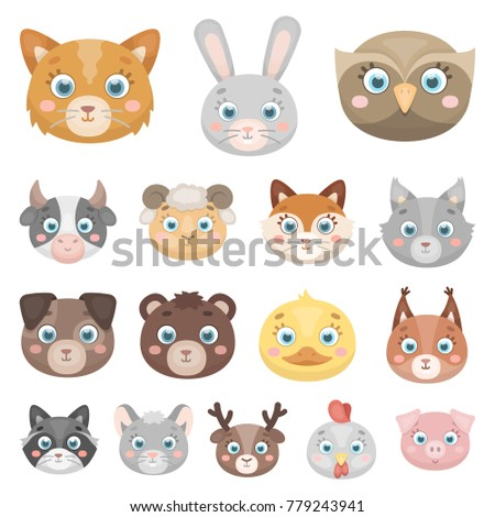 Muzzles of animals cartoon icons in set collection for design. Wild and domestic animals vector symbol stock web illustration.
