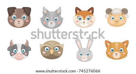 muzzles of animals icons in set