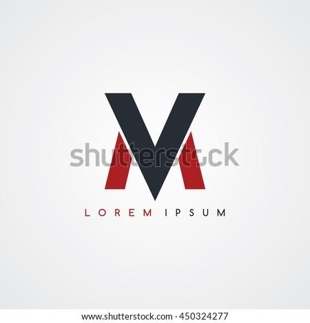 mv initial letter linked uppercase logo black red in white background Stock fotó ©