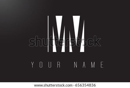 MV Letter Logo With Black and White Letters Negative Space Design.