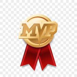 MVP gold medal award. Vector most valuable player trophy logo