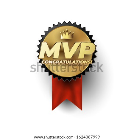 MVP Most Valuable Player gold badge concept with champion crown above the luxury gold styled MVP phrase Stock fotó ©
