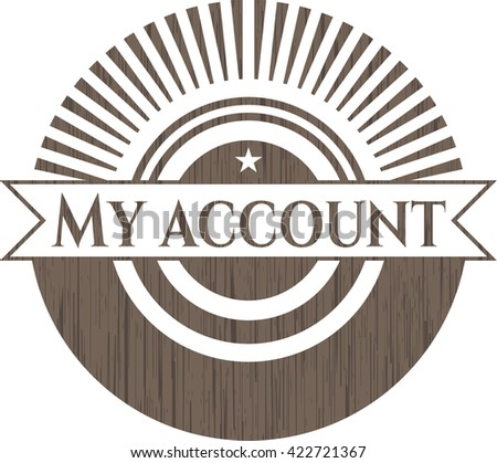 My account retro style wooden emblem