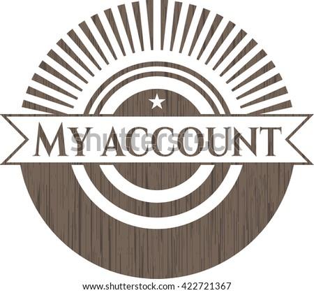 My account retro style wooden emblem