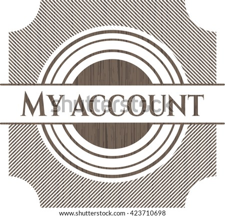 My account retro wooden emblem